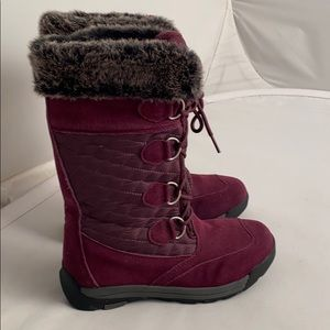 Lands End insulated purple snow boots 8